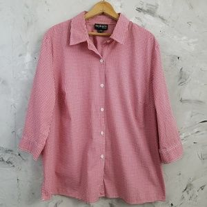 STYLE & CO Red & White Checked Shirt / Blouse
